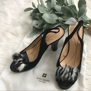 Kate Spade Black Feather Slingback Chunky Heels